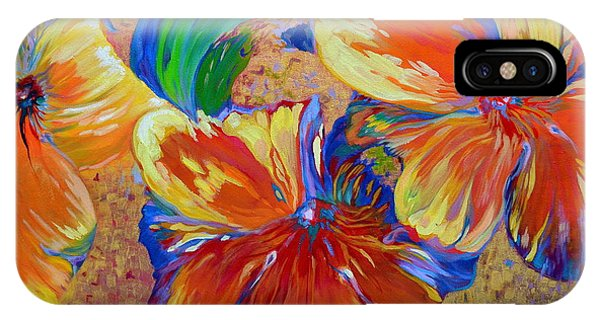 Golden Boiled Flowers IPhone Case