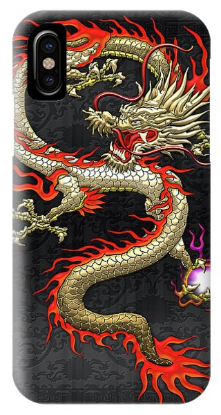 Golden Chinese Dragon Fucanglong On Black Silk IPhone Case
