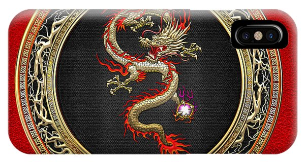 iPhone Case - Golden Chinese Dragon Fucanglong On Red Leather  by Serge Averbukh