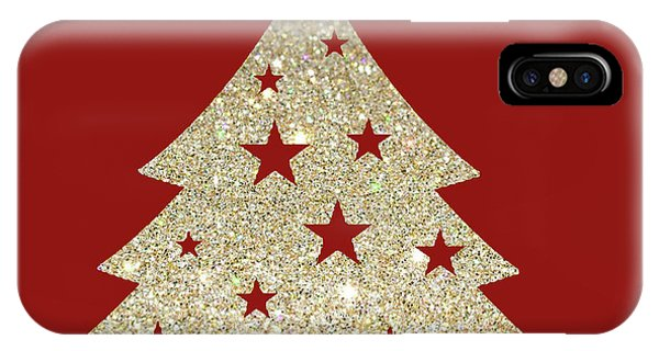 Christmas Tree iPhone Case - Golden Christmas Tree by Art Spectrum
