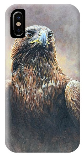 IPhone Case featuring the painting Golden Eagle Portrait by Alan M Hunt