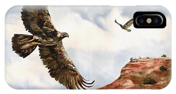 Golden Eagles In Fligh IPhone Case
