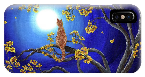 Yellow Trumpet iPhone Case - Golden Flowers In Moonlight by Laura Iverson