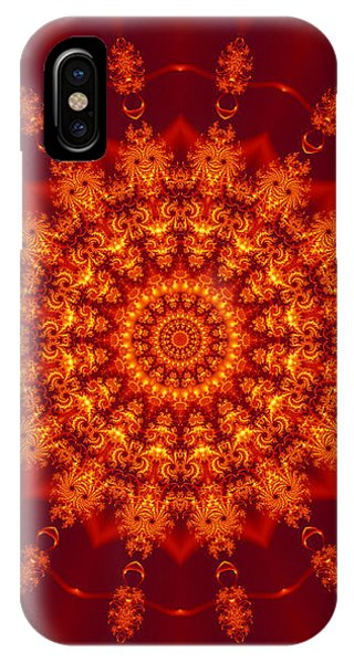 Golden Fractal Mandala Daisy IPhone Case