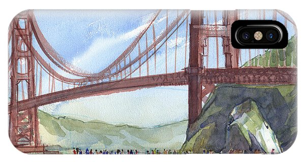 IPhone Case featuring the painting Golden Gate Bridge From Fort Baker, Ca by Judith Kunzle