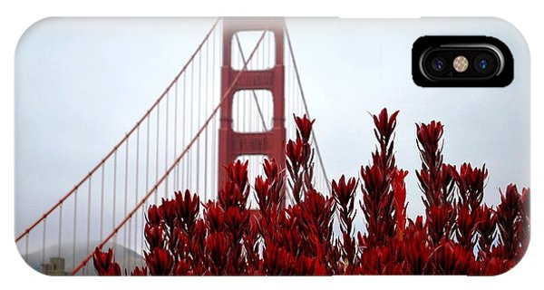 Golden Gate Bridge Red Flowers IPhone Case