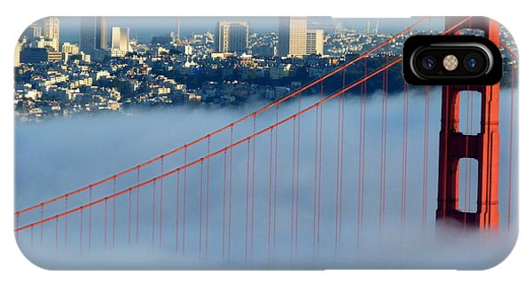 Golden Gate Bridge Tower In Sunshine And Fog IPhone Case