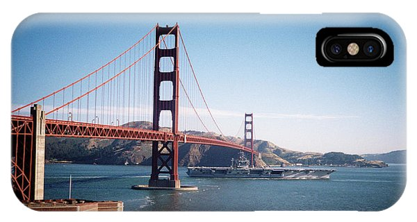 Golden Gate Bridge With Aircraft Carrier IPhone Case