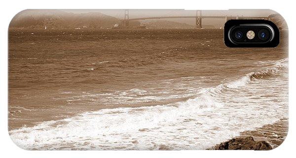 Golden Gate Bridge With Shore - Sepia IPhone Case