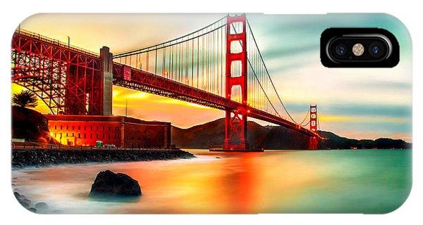 Bridge iPhone Case - Golden Gateway by Az Jackson