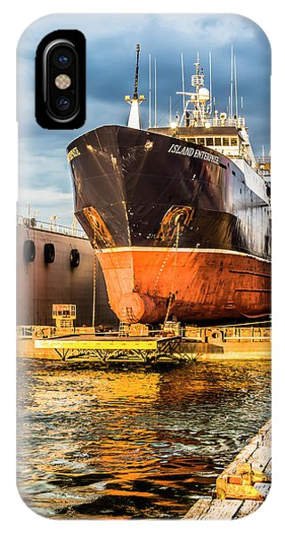 Golden Glow On Dry Dock IPhone Case