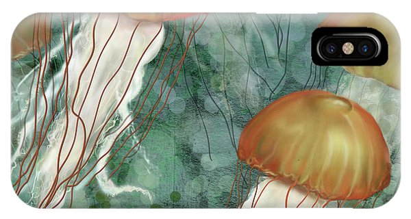 Golden Jellyfish In Green Sea IPhone Case