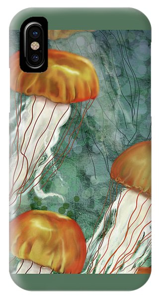 Golden Jellyfish In Green Sea IPhone Case
