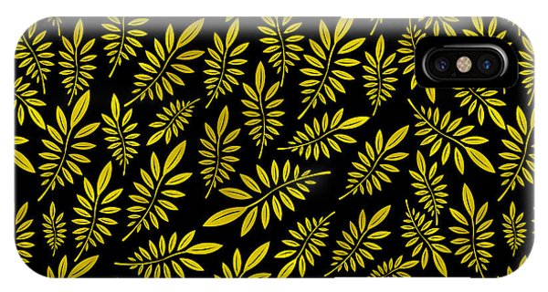 Leave iPhone Case - Golden Leaf Pattern 2 by Stanley Wong