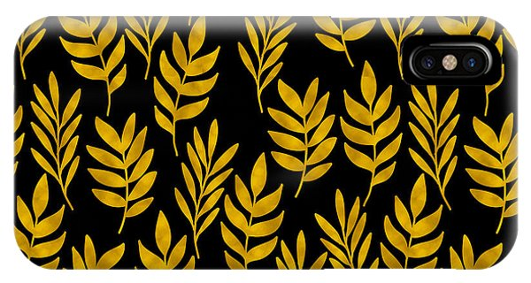 Leave iPhone Case - Golden Leaf Pattern by Stanley Wong