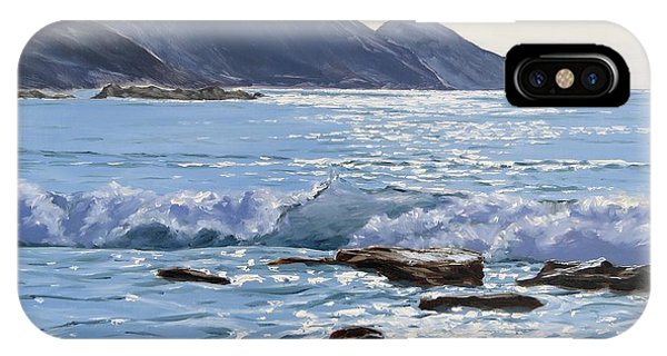 IPhone Case featuring the painting Golden Light At Crackington Haven by Lawrence Dyer