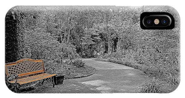 Park Bench iPhone Case - Golden Park Bench Along The Gardens Walkway by Marian Bell