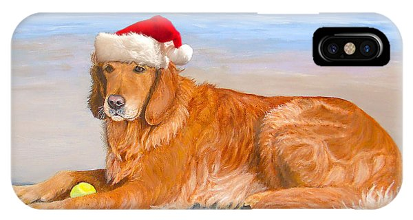 IPhone Case featuring the painting Golden Retreiver Holiday Card by Karen Zuk Rosenblatt