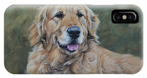 IPhone Case featuring the painting Golden Retriever Portrait by Alan M Hunt