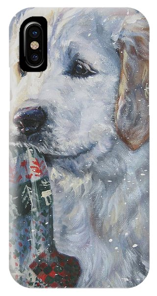 Golden Retriever With Xmas Stocking IPhone Case