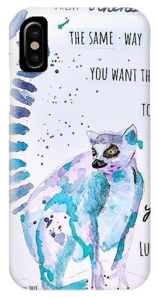 Ring-tailed Lemur iPhone Case - Golden Rule Lemur by Kat's Watercolor Conversations