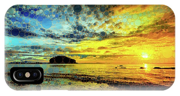 IPhone Case featuring the mixed media Golden Sea by Susan Maxwell Schmidt