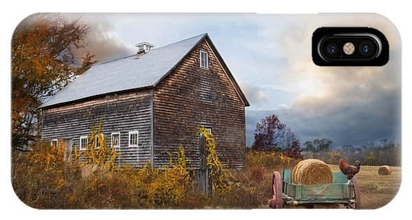 New England Barn iPhone Case - Golden Season by Robin-Lee Vieira