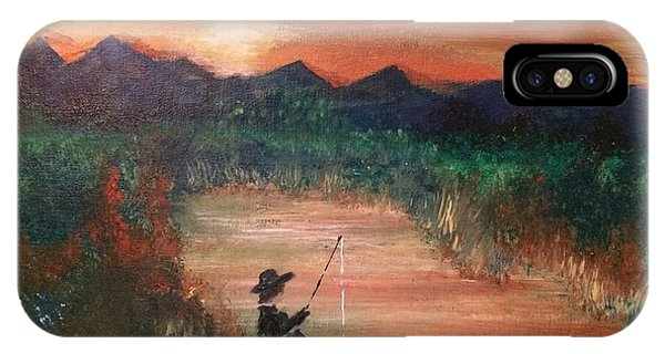 IPhone Case featuring the painting Golden Sunset by Denise Tomasura