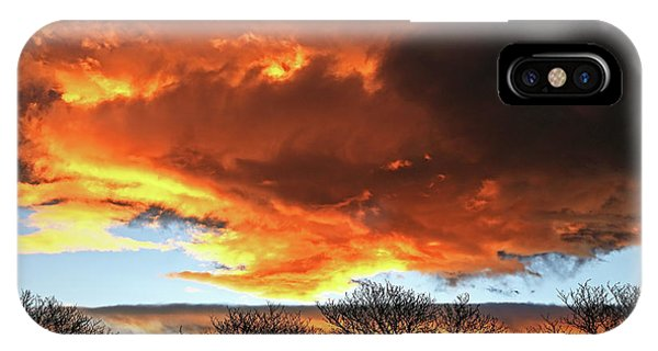 Golden Sunset With Filigree Trees IPhone Case