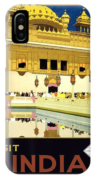 Golden Temple Amritsar India - Vintage Travel Advertising Poster IPhone Case