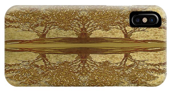 Golden Trees Reflection IPhone Case