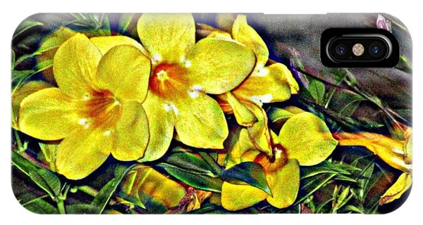Yellow Trumpet iPhone Case - Golden Trumpets by Peggy De Haan