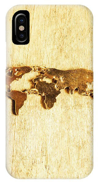Necklace iPhone Case - Golden World Continents by Jorgo Photography - Wall Art Gallery