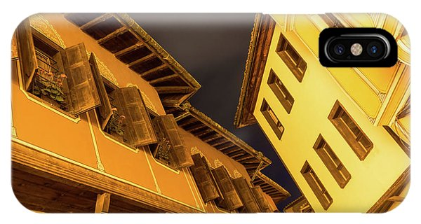 Golden Yellow Night - Chic Zigzags Of Oriel Windows And Serrated Roof Lines IPhone Case