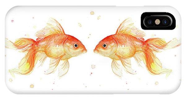 Goldfish Love Watercolor IPhone Case