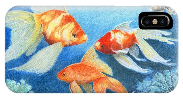 IPhone Case featuring the drawing Goldfish Tank by Phyllis Howard