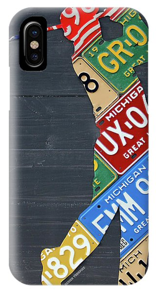 Golf iPhone Case - Golfer Silhouette Recycled Vintage Michigan License Plate Art by Design Turnpike