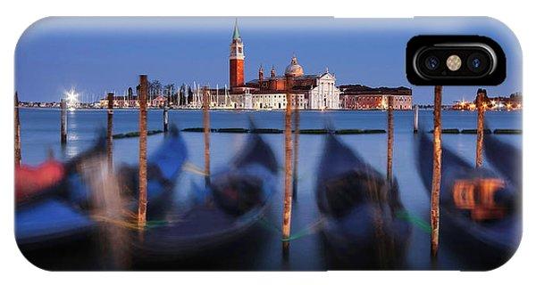 Gondolas And San Giorgio Maggiore At Night - Venice IPhone Case