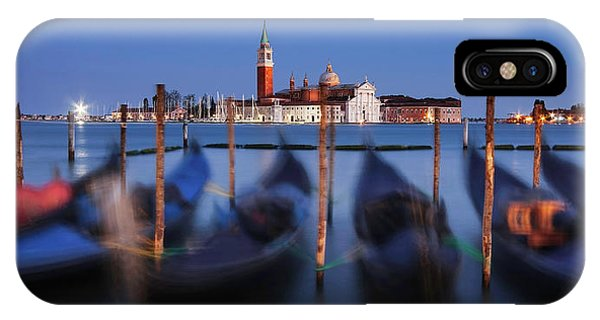 IPhone Case featuring the photograph Gondolas And San Giorgio Maggiore At Night - Venice by Barry O Carroll