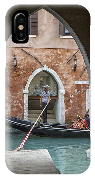 Gondolier In Frame Venice Italy IPhone Case