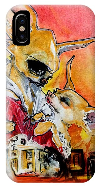 Caricature iPhone Case - Gone With The Wind Chihuahuas Caricature Art Print by John LaFree