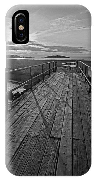Good Harbor Beach Footbridge Shadows Black And White IPhone Case