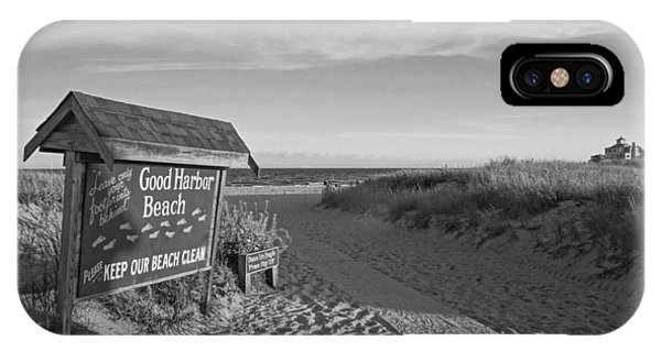 Good Harbor Sign At Sunset Black And White IPhone Case