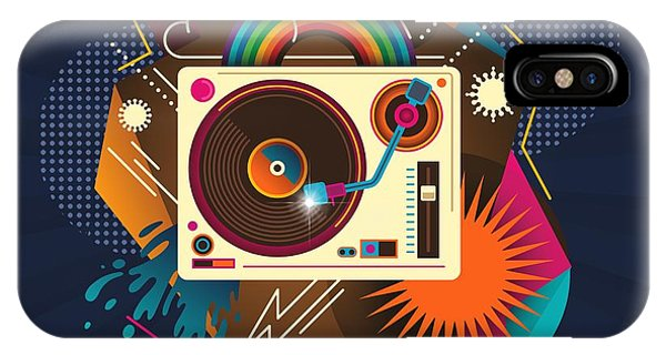Mtv iPhone Case - Goodtime Party Music Retro Rainbow Turntable Graphic  by Little Bunny Sunshine