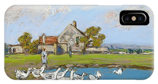 Impressionistic iPhone Case - Goose Girl At Sablons by Alfred Sisley