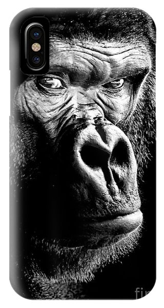 IPhone Case featuring the photograph Gorilla Canvas Print, Photographic Print, Art Print, Framed Print, Greeting Card, Iphone Case, by David Millenheft