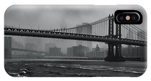 Manhattan Bridge In A Storm IPhone Case