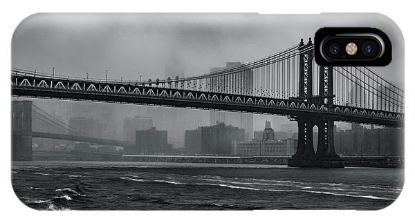 Manhattan Bridge In A Storm IPhone Case
