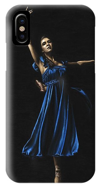 Blue Dress iPhone Case - Graceful Dancer In Blue by Richard Young