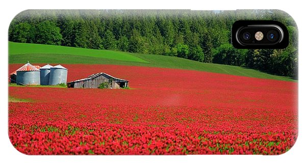 Grain Bins Barn Red Clover IPhone Case